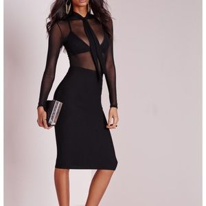 Missguided like new pussybow mesh dress